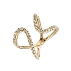 Feminines Design / Ring Gelbgold mit 55 Brillanten