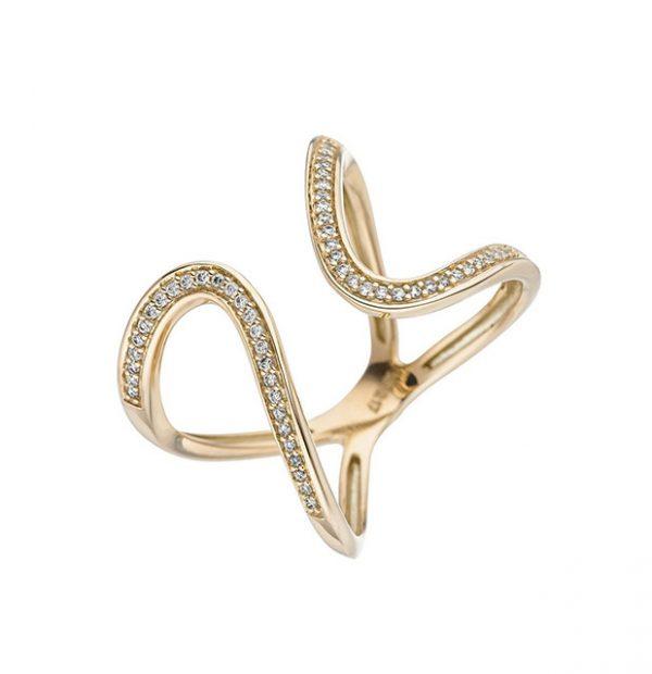 Feminines Design / Ring Gelbgold mit 55 Brillanten