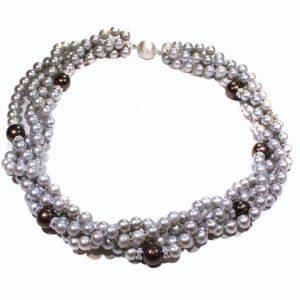 Süßwasserperlen hellgrau mit schwarzen Perlen und Silberrundell besetzt mit Zirkonia