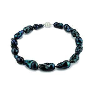 Nuclet Baroc Perlen Collier schwarz-blau