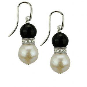 Ohrhänger Silber mit Onyx und großen Süßwasser-Perlen