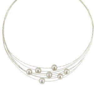 Perlen-Collier weiß im eleganten Design / 7-reihiges Collier