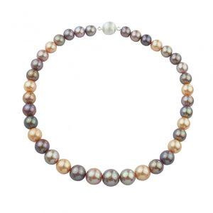 Collier Süßwasser Perlen in zartem Lilaton, Goldton und schimmerndem Weiß