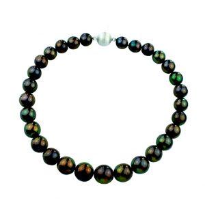 Collier Süßwasser Perlen grau - schwarz , 14 mm - 12 mm