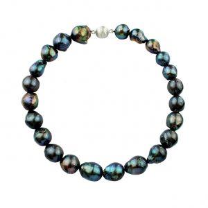 Collier Nuclet Baroc Süßwasser Perlen grau - grün - schwarz