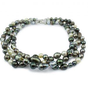Tahiti-Perlen-Collier 3-reihig, lebendiges und elegantes Design