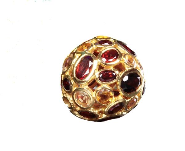 Granat und Citrin Kugel vergoldet mit Wechselschließe
