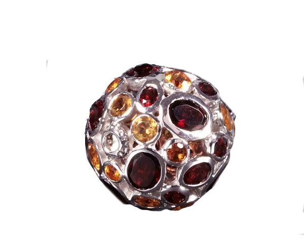 Granat und Citrin Silberkugel mit Wechselschließe