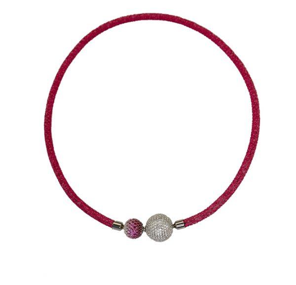 Elegantes Collier aus Rochenleder in pink mit funkelnden Zirkonia-Wechselkugeln