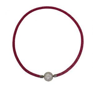 Feuriges Collier aus Rochenleder in pink mit funkelnder Zirkonia-Wechselkugel