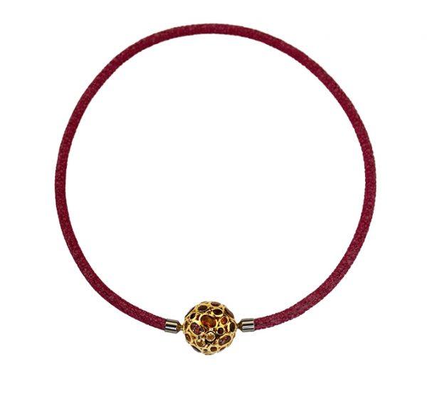 Collier Rochenleder pink mit Granate-Citrine-Wechselkugel