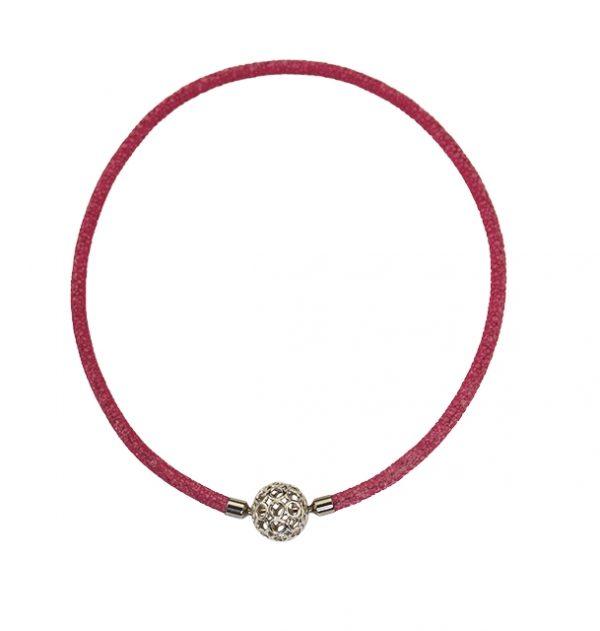 Collier aus Rochenleder in pink mit eleganter Silber-Wechselkugel