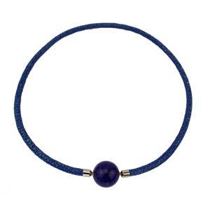 Rochenleder blau mit Lapis Lazuli Kugel