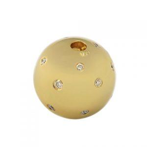 Exklusive mattierte Brillant-Kugel in 18kt. Gold
