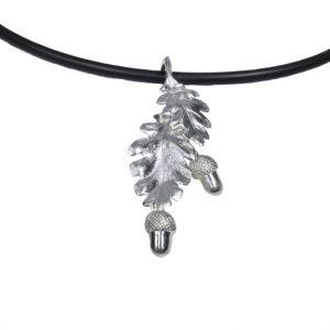 Silber Eichenblätter & Eicheln auf Kautschukband