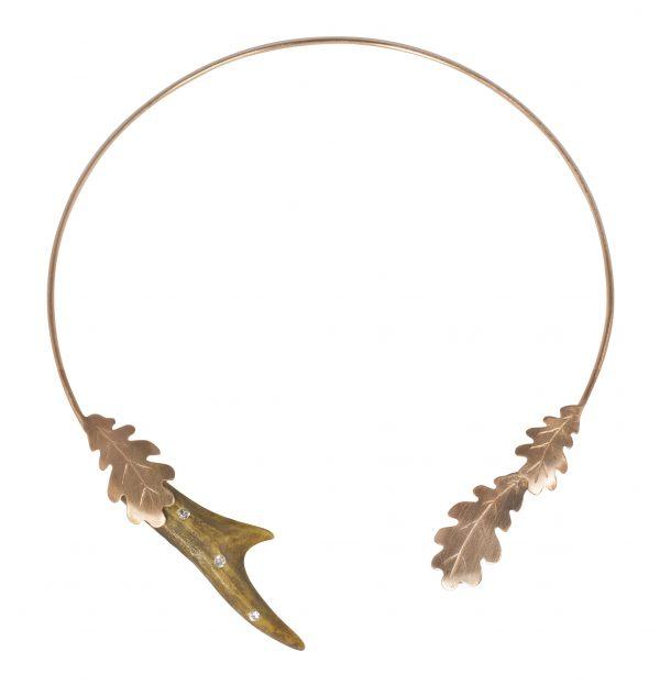 Rehhorn Collier Silber rosevergoldet mit Eichenblättern, SWAROVSKI ELEMENTS / Jagd Collier