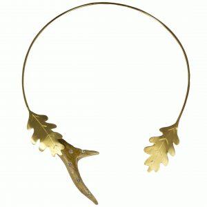 Rehhorn Collier Silber-vergoldet mit SWAROVSKI ELEMENTS und Eichenblättern - Jagd Collier