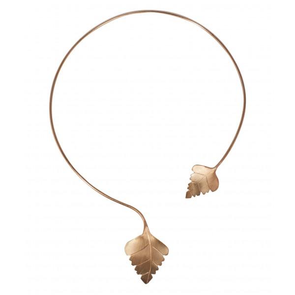 Elegantes Collier mit Birkenblätter 925 Silber rosevergoldet