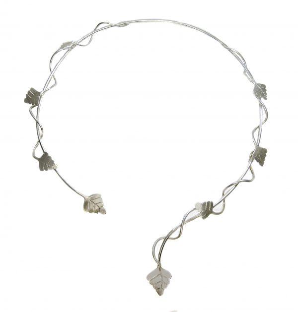 Collier Silber mit kleinen Birkenblättern