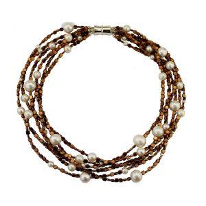 Collier Hämatit bronze mit Süßwasser-Perlen