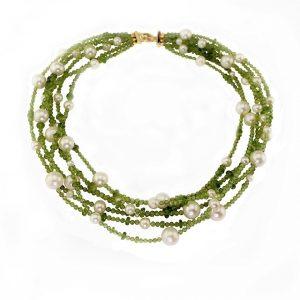 Collier Peridot mit Süßwasser-Perlen