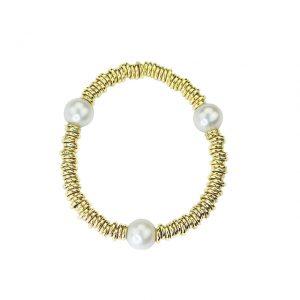 Armband Gold mit Süßwasser Perlen, elastisch