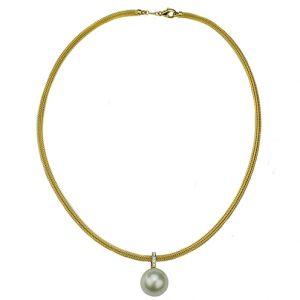 Strick-Collier mit Süßwasser-Perle und Brillanten