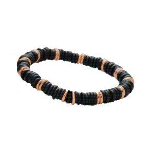 Armband elastisch schwarz mattiert und Rosegold (Herrenarmband)
