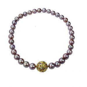 Ming-Perlen Collier mit eleganter Schließe
