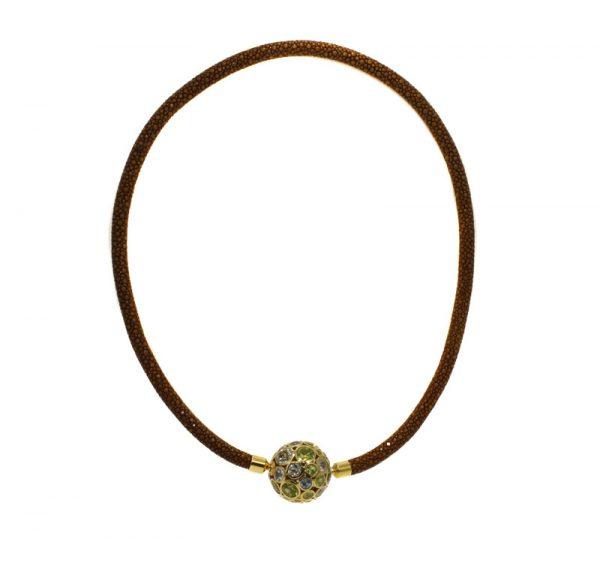 Rochenleder Halsband braun mit Amethyst, Peridot & Aquamarin besetzter vergoldeter Sterling Silber Kugel
