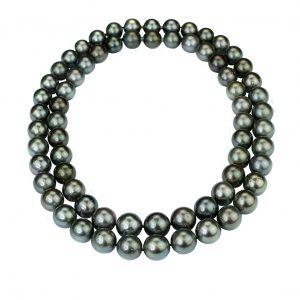Tahiti-Perlen Collier doppelt oder als lange Kette getragen