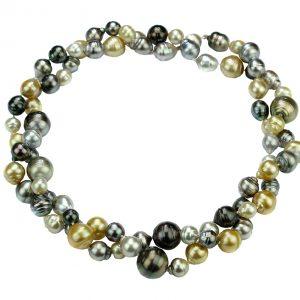 Tahiti-Perlen Collier Multi Color, doppelt oder als lange Kette getragen