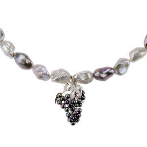 Collier Keshi Perlen weiß-grau, Weintrauben mit grauen Süßwasser Perlen