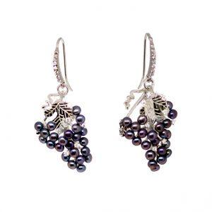 Ohrhänger, Weintrauben Süßwasser Perlen und Zirkonia