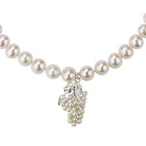 Collier-Weintrauben elegant mit weißen Süßwasser Perlen