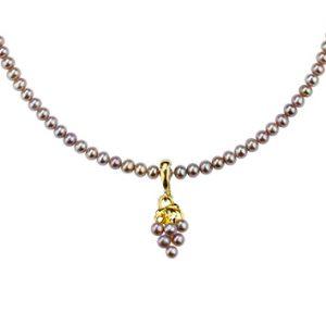 Collier Weintrauben mit rosa Süßwasser Perlen