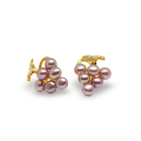Ohrstecker, Weintrauben Süßwasser Perlen rosa, 925.00 Silber vergoldet