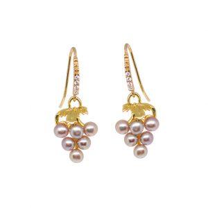 Ohrhänger, Weintrauben Süßwasser Perlen rosa, 925.00 Silber vergoldet mit Zirkonia