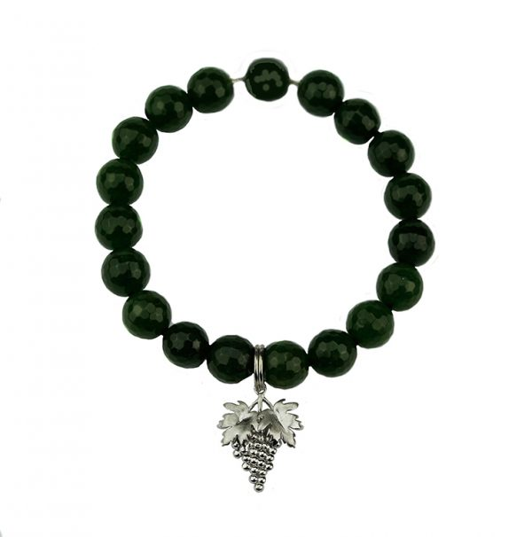 "Elegantes Armband Jade dunkelgrün mit ""Weinreben"" 925er Silber"