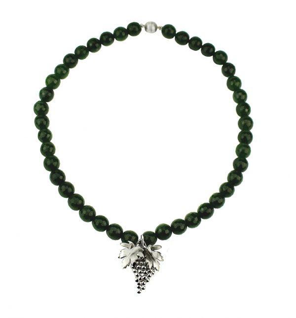 Collier Jade mit Weinreben 925er Silber