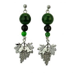 Weinreben-Ohrhänger mit Jade & Malachit